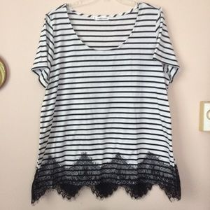 Maurices | Stripe and Lace Top sz 2X